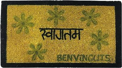 Laroom Felpudo en Hindi benvinguts Amarillo, Yellow, 40x70cm