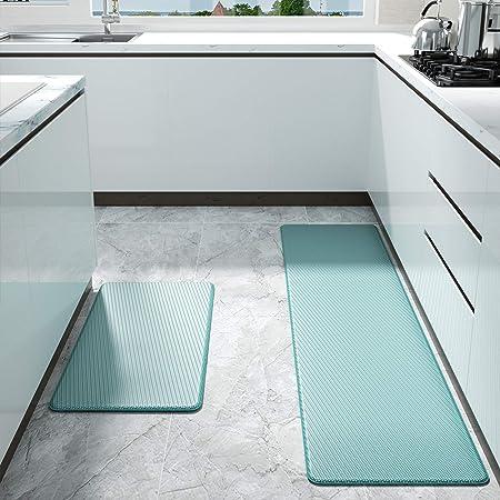 Color&Geometry Alfombrilla de Cocina de 2 Piezas, Alfombra Antifatiga, PVC Impermeable y Resistente al Aceite, Respaldo de Cuero Antideslizante (45 x 75 cm + 45 x 150 cm, Cian)