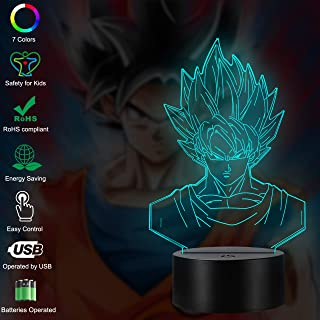 Dragon Ball Z Goku Saiya Cartoon Figures Acrylic 3D Night Lights USB LED Table Lamp Touch Control Home 3D Arts Lamp Multicolor 7 Color Changing Bedroom Decor Child Gifts (Dragon Ball Z Touch)
