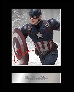 Chris Evans Signed Mounted Photo Display Captain America 02 Autographed Picture Print