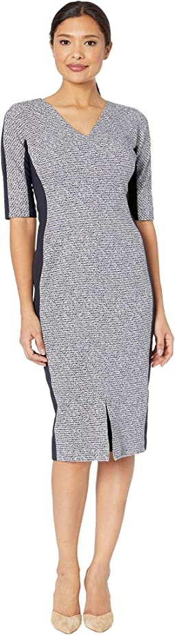 Tweed Metallic Rib Arc Shoulder Sheath Dress