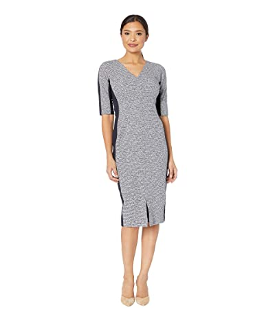 Maggy London Tweed Metallic Rib Arc Shoulder Sheath Dress (Navy) Women