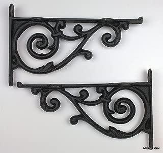2 Brackets Shelf Braces Iron Patio Garden Ornate