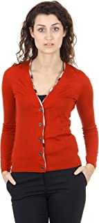Woman's Solid Red 100% Wool Check Trim Thin Cardigan Sweater
