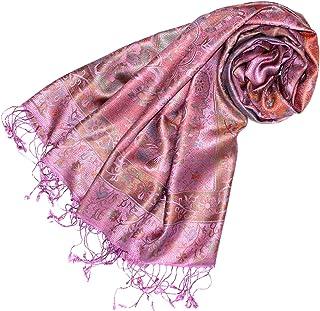 Lorenzo Cana Luxus Damen Pashmina Schal Schaltuch jacquard gewebt 100% Seide 70 x 190 cm Paisley Muster Seidenschal Seidentuch Seidenpashmina harmonische rot rosa Farben 78035