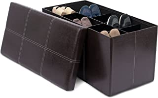 BIRDROCK HOME Storage Ottoman Bench with Shoe Storage - 31.5 x 16 - Strong and Sturdy - Upholstered Cushioned Seat - Shoe Organizer Shoe Rack Foot Stool - Brown