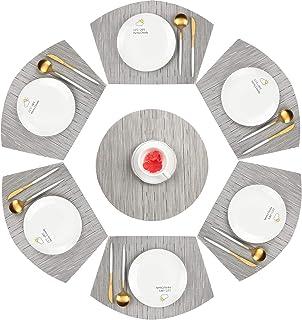 TOPQSC Tapis de Table en PVC Lavables Ensemble de 6 Brown Tapis de Table en Vinyle Antid/érapants et R/ésistants /à la Chaleur
