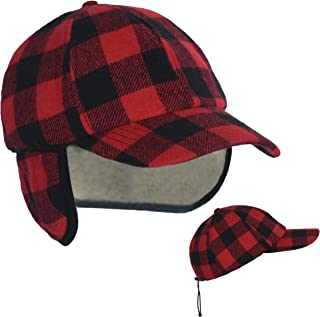 Unisex Cold Weather Baseball Ball Cap with Earflap, 50 UPF-UV Sun Protection Wool