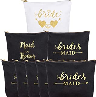 8 Pack Canvas Cosmetic Bag,1 Bride 1 Maid Of Honor 6 Bridesmaids Makeup Bride Tribe Bag,for Bachelorette Parties, Weddings and Bridal Showers,Bridesmaid Proposal Gifts, Durable Canvas Makeup Bag Sets