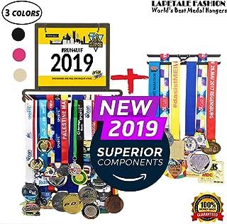 Race Medal Hanger bib Display Holder for Runner,Gymnastics,Soccer,Trophy Shelf Medal Hanger,Medal Rack Runners Medal Hanger Medal Display Stand Trophy Holder in Black Colors with Box