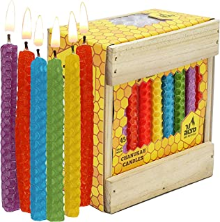 Ner Mitzvah Honeycomb Chanukah Beeswax Candles - Standard Size Candle Fits Most Menorahs - Premium Quality Pure Bees Wax - Colorful Assortment - 45 Count for All 8 Nights of Hanukkah