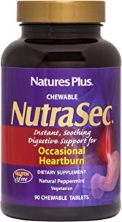 NaturesPlus Nutrasec Chewable Tablets - 90 Tablets - Natural Peppermint Flavor - Instant, Soothing Digestive Support For O...