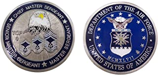 """Air Force """"Top Three"""" Chief - Senior Master Sergeant & Master Sergeant Collectible Challenge Coin/Logo Poker/Lucky Chip"""