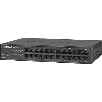 NETGEAR ラックマウント型 アンマネージ スイッチングハブ GS324 ギガビット 24ポート 静音ファンレス 省電力設計 3年保証