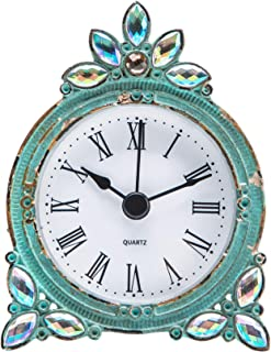 NIKKY HOME Vintage Pewter Quartz Mini Table Clock with Crystal Shining Rhinestone, 2.87 x..