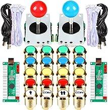 EG STARTS Classic Arcade DIY Kit Parte Set 2x 5 Pines Joystick 18x Chapado en oro LED Botón iluminado 1 2 Player Coin 30mm Botones dorados Lights para Arcade MAME & Arcade Cabinet & Raspberry Pi