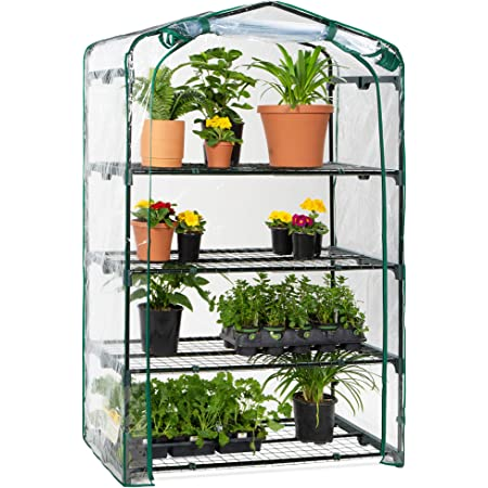 Best Choice Products 40in Wide 4-Tier Mini Greenhouse, Portable Indoor Outdoor Arboretum for Patio, Backyard, Nursery, Home Growing w/Steel Shelves, Plastic Cover, Roll-Up Zipper Door
