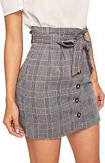 WDIRARA - Falda corta para mujer, informal, a cuadros, cintura alta, con cierre de botón, línea A,  gris (Grey-5), S