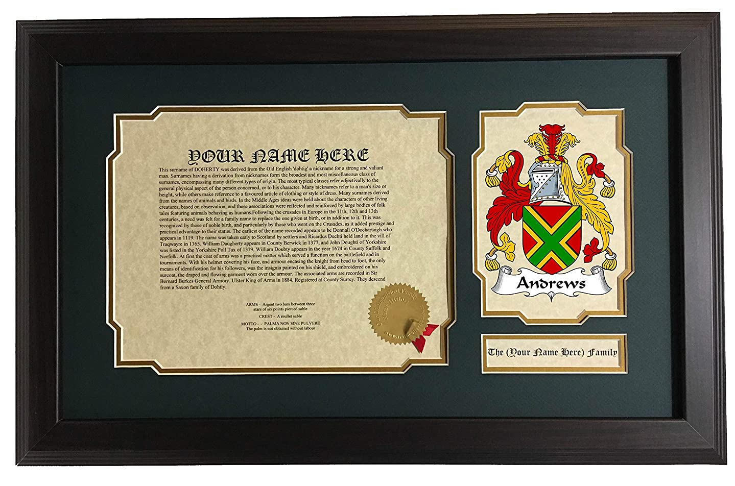Andrews - Coat of Arms and Last Name History, 14x22 Inches Matted and Framed