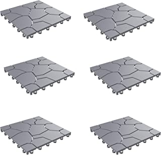 Pure Garden 50-LG1171 Patio and Deck Tiles – Interlocking Stone Look Outdoor Flooring Pavers Weather Resistant and Anti-Slip Square DIY Mat (Grey Set of 6)