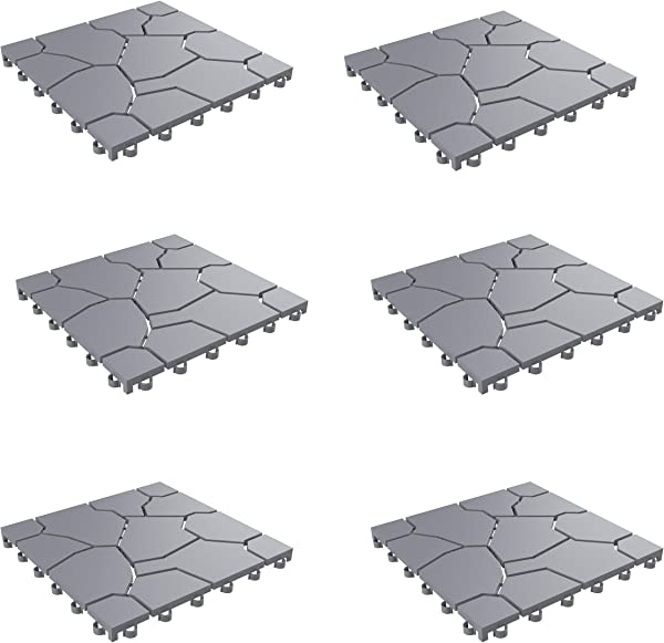 Pure Garden 50 LG1171 Patio And Deck Tiles Interlocking Stone Look Outdoor Flooring Pavers Weather Resistant And Anti Slip Square DIY Mat Grey Set Of 6