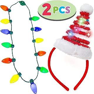 JOYIN Christmas Light-up Headband with LED Bulb Necklace Party Favors