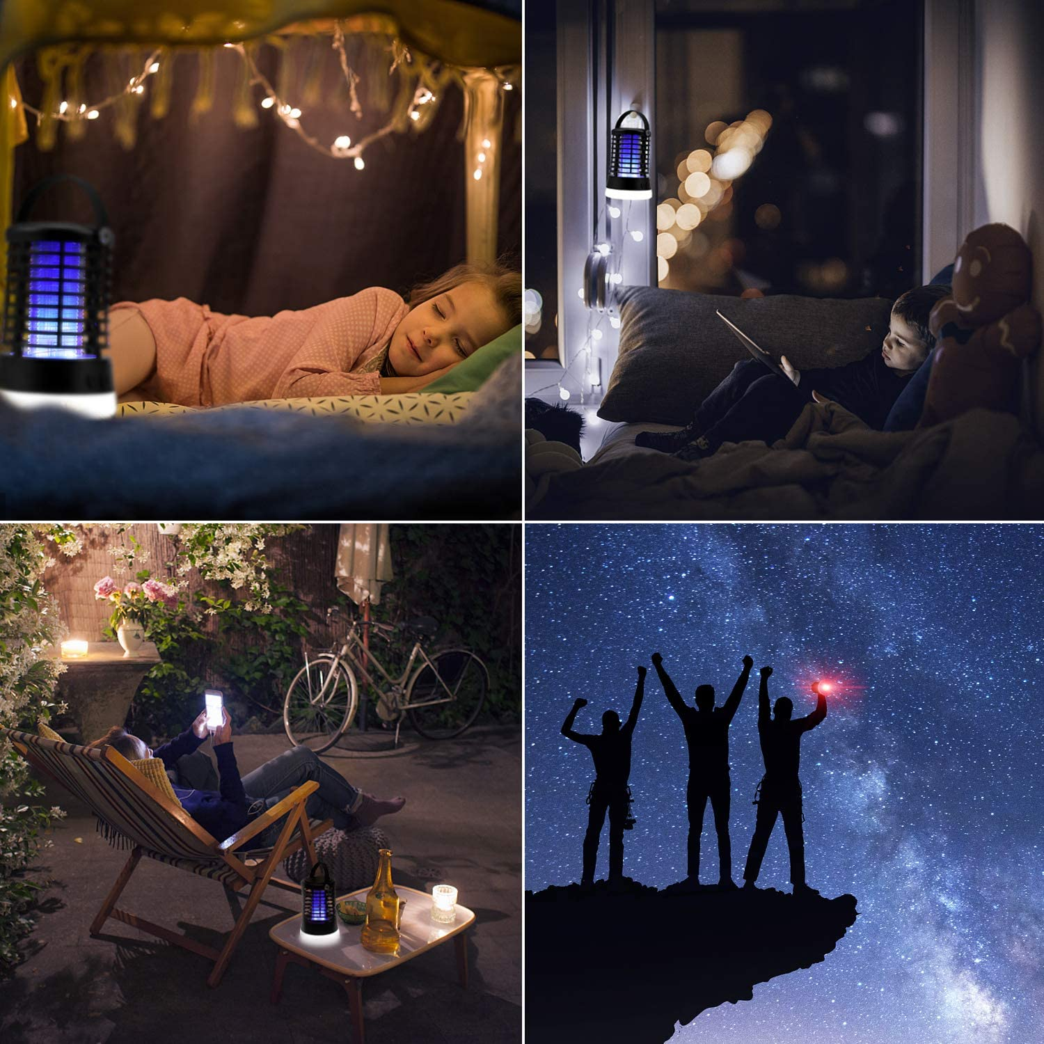Bug Zapper Electric Mosquito Killer Insect Fly Trap Mosquito Attractant Trap Control with Camping Lamp for Indoor Outdoor Backyard Patio Camping Cordless and Hangable : Garden & Outdoor