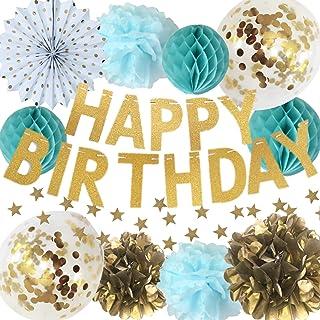 manaparty ( マナパーティ ) 誕生日 飾り付け ゴールド キラキラ コンフェッティ バルーン ガーランド バースデー セット デコレーション 男の子 女の子 manapa01 (アクアブルー)