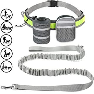SYOSIN Hands-Free Dog Leash, Suitable for Running, Walking, Hiking, Durable Cushioning Rubber Band Leash - Reflective Waist Leash, 6 Feet Long, with a Dog Pocket Key Bag