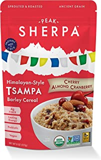 Peak Sherpa Tsampa Cereal, Cherry Almond Cranberry Flavor, One 8 Ounce Pouch, Ready to Eat, Certified Organic, Sprouted & Roasted Whole Grain Barley Cereal