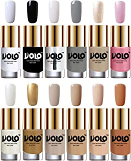 Volo Luxury Super Shine Nail Polish Set of 12 Vibrant Shades (Matte White, Black, Extra Shine Top Coat, Grey, Chrome Rust, Metallic Pink, Pearly White Chrome, Golden, Nude Tude)