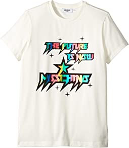 Moschino Kids - Short Sleeve 'The Future Is Now' Logo T-Shirt (Big Kids)