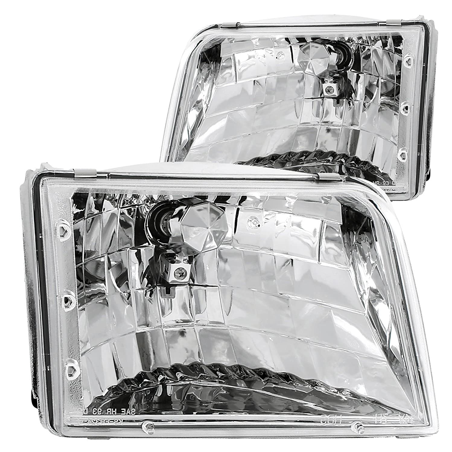 Anzo USA 111036 Ford Ranger Crystal Chrome Headlight Assembly - (Sold in Pairs)