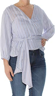 54257896041 Polly & Esther $34 Womens New 1031 Blue Pinstripe Tie Tunic Top L Juniors  ...