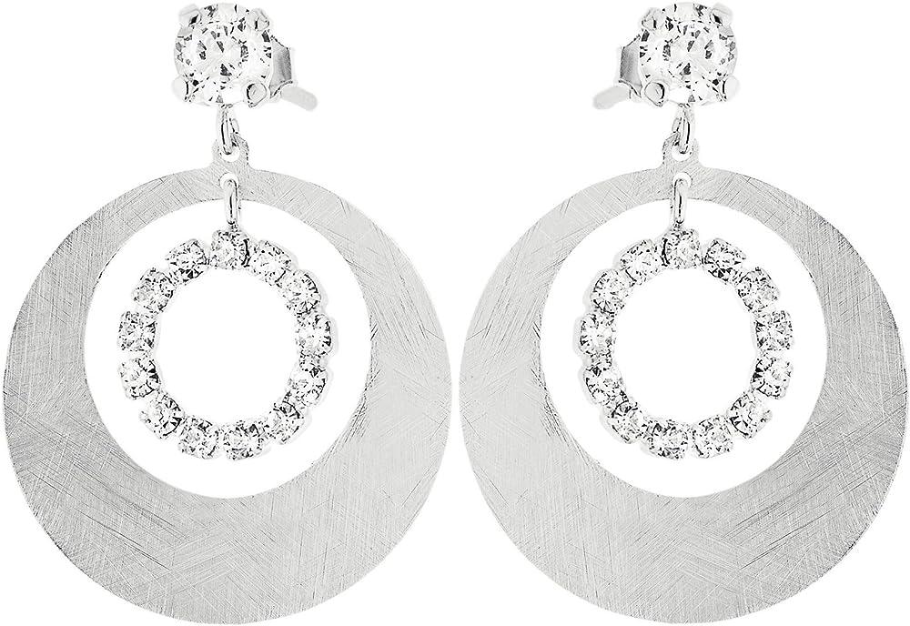 Stroili new moon orecchini  pendenti per donna in bronzo rodiato e cristalli 1512939