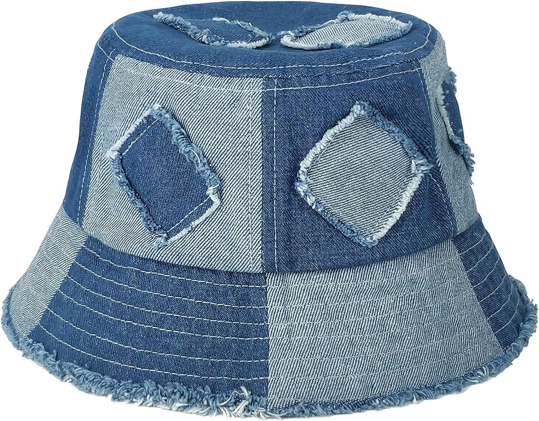 GuanGu Denim Bucket Hat for Women Washed Cotton Packable Summer Beach Sun Hats Mens Womens Bucket Hat for Travel