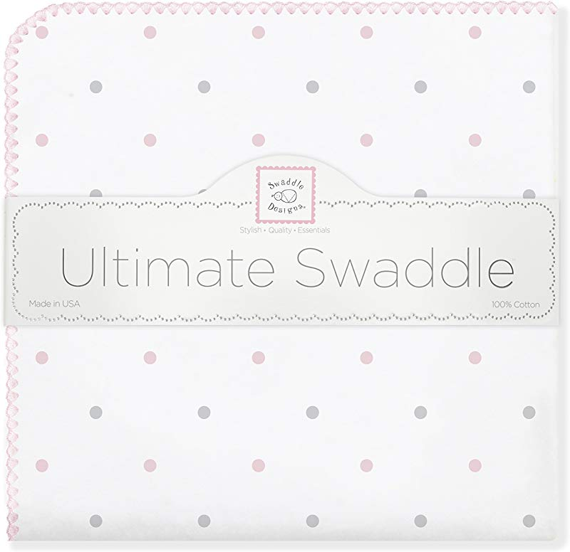 SwaddleDesigns Ultimate Swaddle X Large Receiving Blanket Made In USA Premium Cotton Flannel Pastel Pink Dots Mom S Choice Award Winner