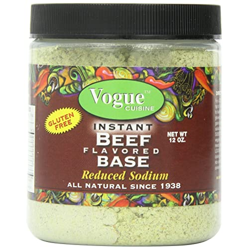 Vogue Cuisine Beef (Vegetarian Beef) Soup & Seasoning Base 12oz - Low Sodium, Gluten Free, All Natural Ingredients