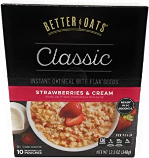 Better Oats STRAWBERRIES & CREAM Instant Oatmeal with Flax 12.3oz (3 Pack)