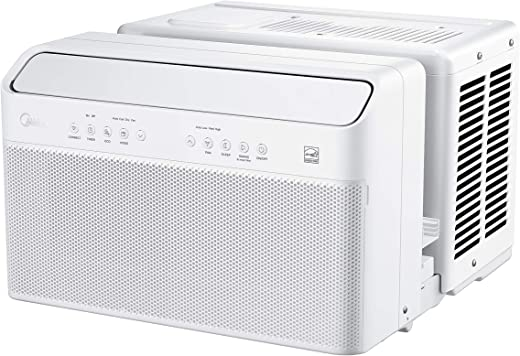 Midea U Inverter Window Air Conditioner 8,000BTU, The First U-Shaped AC with Open Window Flexibility, Robust Installation,Extreme Quiet, 35% Energy Saving, WiFi,Alexa,Remote, Bracket Included