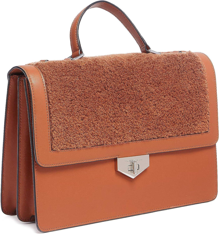 Tosca Blu Tan Medium Faux Shearling Flap Top Handle Bag for womens