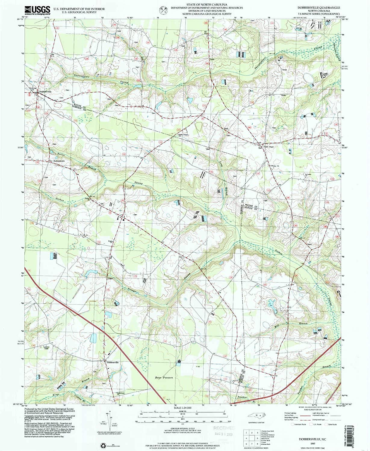 Dobbersville NC topo map, 1 24000 Scale, 7.5 X 7.5 Minute, Historical, 1997, Updated 2000, 26.7 x 21.9 in