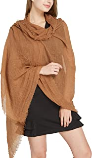 Long Plain Scarf Large Wrap for Women - Big Solid Crashed Wrinkle Soft Hair Scarf and Shawl
