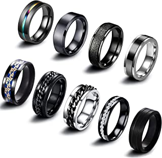 EIELO 9Pcs Stainless Steel Band Rings for Men Women Cool Fidget Spinning Chain Ring Anxiety Relief Fashion Simple Wedding ...
