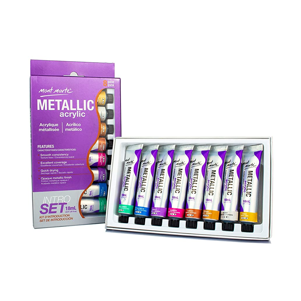 Mont Marte Acrylic Paint Set - Metallic - 8 Pieces, 18 ml Tubes - Ideal for Acrylic Painting - Brilliant lightfast Colors with high Opacity - Perfect for Beginners, Professionals and Artists