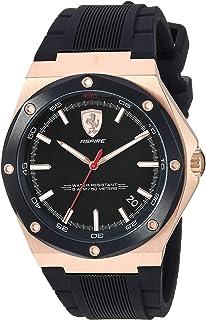 Ferrari Men's Aspire Quartz Rose Gold Plated and Silicone Strap Casual Watch, Color: Black (Model: 830553)