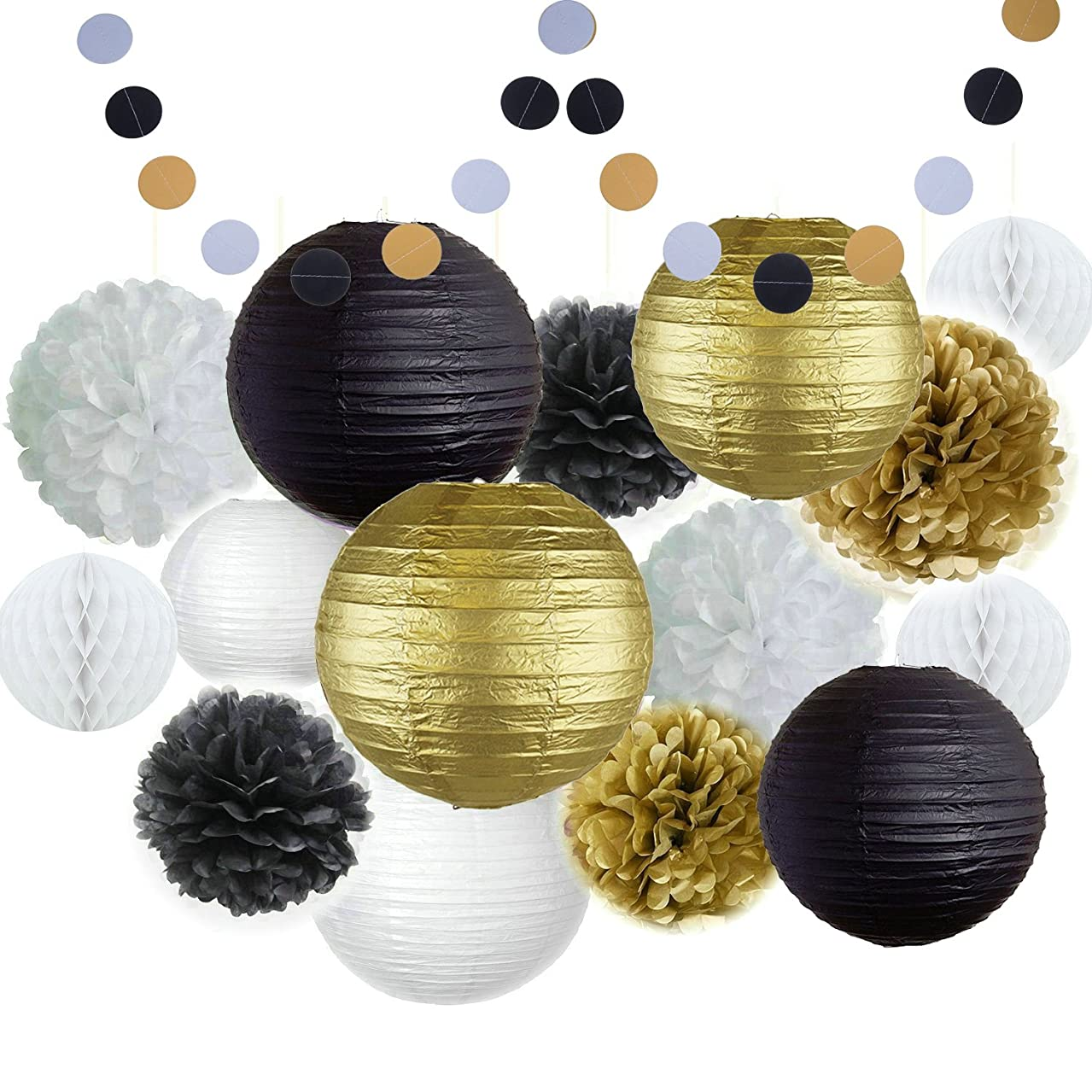 Happy New Year Party Decorations Black White Gold Tissue Paper Pom Pom Paper Lantern Paper Honeycomb Balls Polka Dot Garland for Great Decorations/ New Year's Eve Party /Birthday Decorations/Shower