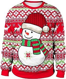 PLUSFILE Unisex Ugly Christmas Sweatshirt 3D Digital Printed Funny Shirt Long Sleeve Pullover Sweater shirt