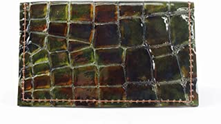 Minimalist Wallet in Green Crocodile Embossed Leather with RFID Blocking