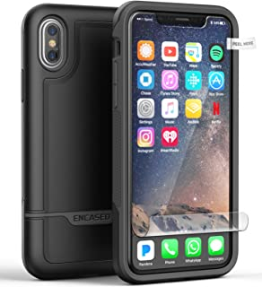Encased Heavy Duty iPhone X/XS Case (Military Grade Protection) Full Body Cover with Screen Protector - Black